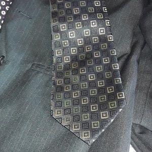 Stafford tie  Black silk with multicolored blocks